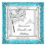 Teal Quinceanera 15th Birthday Tiara Masquerade Invites