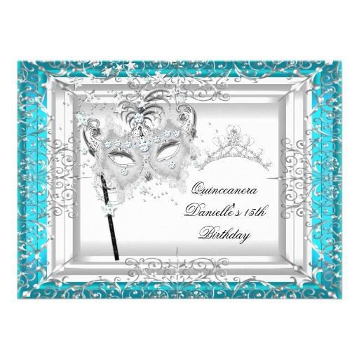 Teal Quinceanera 15th Birthday Tiara Masquerade Announcement