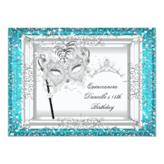 Teal Quinceanera 15th Birthday Tiara Masquerade 5.5x7.5 Paper Invitation Card