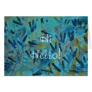 Teal Rainbow Hi Hello Greeting Card by Janz