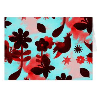 Teal Red Flowers Birds Butterflies Faded Grunge Note Card