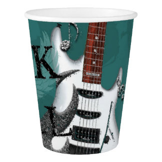 Teal Rock N Roll Star Birthday Party Event Paper Cup