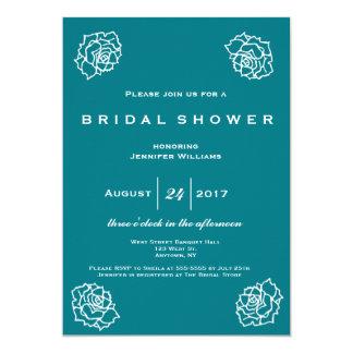 Teal rose bridal shower invitations