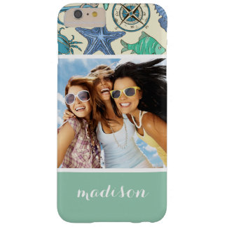 Teal Sea Animals Pattern | Your Photo & Name Barely There iPhone 6 Plus Case