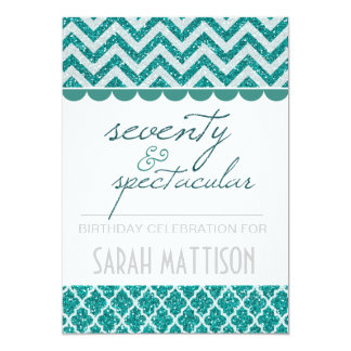 Teal  Seventy and Spectacular Birthday Invite