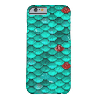 Teal Shimmer and Ruby Fish Scales Pattern Barely There iPhone 6 Case