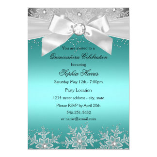 Teal Silver Jewel Bow Snowflake Quinceanera Card
