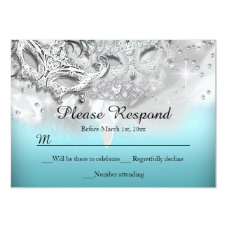 Teal & Silver Sparkle Masquerade RSVP Reply Custom Announcement