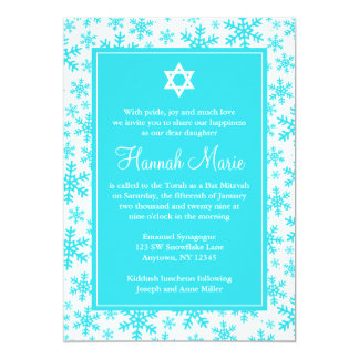 Teal Snowflake Border Star of David Bat Mitzvah 13 Cm X 18 Cm Invitation Card
