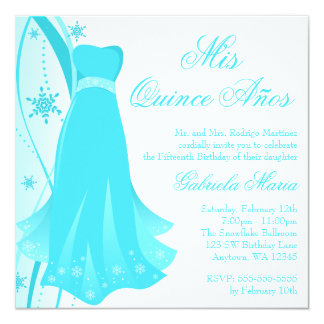 Teal Swirl Dress Winter Wonderland Quinceanera Card