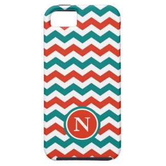 Teal Tangerine Chevron Zig Zag Pattern Monogram iPhone 5 Cover