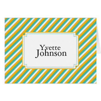 Teal Tangerine Striped Personalized Notecard