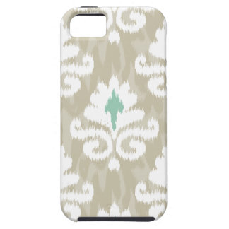 Teal & Taupe Ikat Turquoise Ethnic Boho Print Case For The iPhone 5