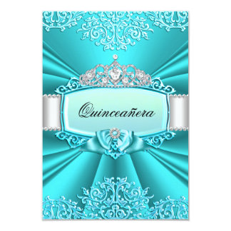"Teal Tiara & Damask Quinceanera Invitation 3.5"" X 5"" Invitation Card"