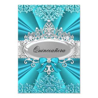 "Teal Tiara & Damask Quinceanera Invite 3.5"" X 5"" Invitation Card"