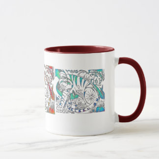 Teal Tiger In Cubist Style Mug