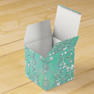 Teal Turquoise and White Fancy Damask Wedding Favour Boxes
