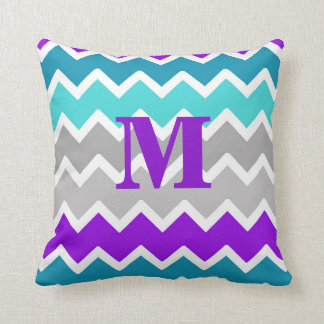 Teal Turquoise Blue Purple Grey Grey Chevron Cushion