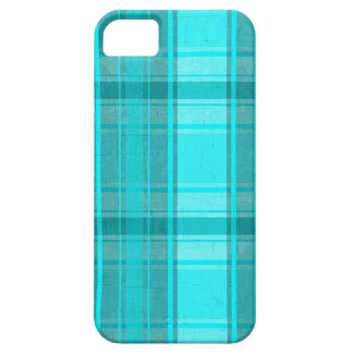 Teal Turquoise Faux Textile Tartan Plaid Pattern iPhone 5 Cases