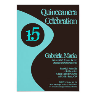 Teal Turquoise Modern Quinceanera Invitations