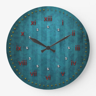 Teal Turquoise Stripped Grunge Numbered Large Clock
