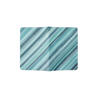 Teal Watercolor Painted Stripes (Teal, Cyan, Blue) Passport Holder