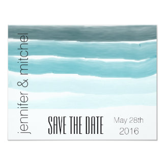 Teal Watercolor Save the Date Card