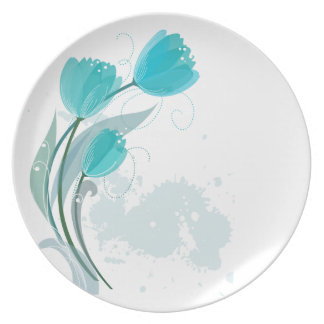 Teal Watercolor Spring Tulips Melamine Plates