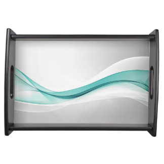 Teal Wave Abstract Serving Tray