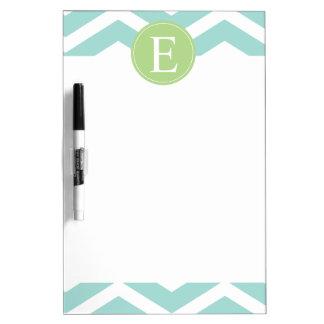 Teal White Chevron Green Monogram Dry Erase Board