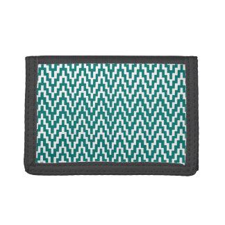 Teal White Ikat Chevron Zig Zag Stripes Pattern Tri-fold Wallet