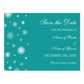 Teal White Save the Date Winter Wedding Postcard