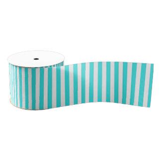 Teal White Vintage Girly Stripes Pattern Grosgrain Ribbon