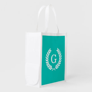 Teal White Wheat Laurel Wreath Initial Monogram Reusable Grocery Bag