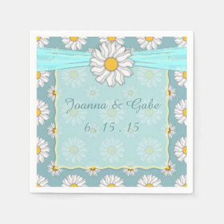 Teal White Yellow Daisy Floral Wedding Paper Napkins