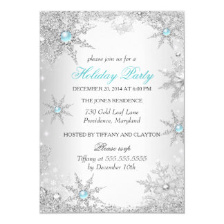 Teal Winter Wonderland Christmas Holiday Party 4a 13 Cm X 18 Cm Invitation Card
