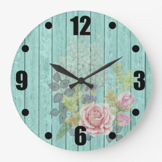 Teal Wood Effect Pink Roses Floral Bouquet Large Clock
