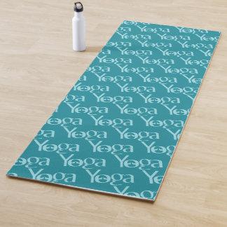 Teal Yoga Text Design Yoga Mat