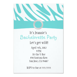 Teal Zebra Bachelorette Party Invitation (light)