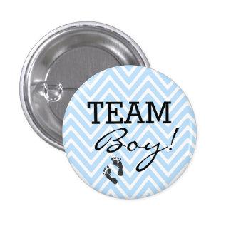 Team Boy Blue and White Chevron Baby Shower 3 Cm Round Badge