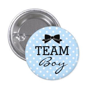 Team Boy Blue Polka Dots Baby Shower 3 Cm Round Badge