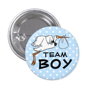 Team Boy Stork Baby Shower Gender Reveal 3 Cm Round Badge
