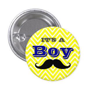 Team Boy Yellow Chevron and Mustache Baby Shower 3 Cm Round Badge