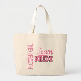Team Bride 1 FLOWER GIRL Large Tote Bag