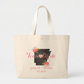 Team Bride Arkansas State Wedding Party Bridesmaid Large Tote Bag