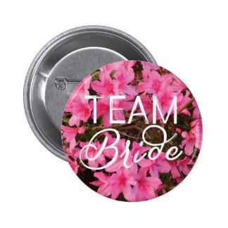 Team Bride Azalea Heart Bridal Party Button