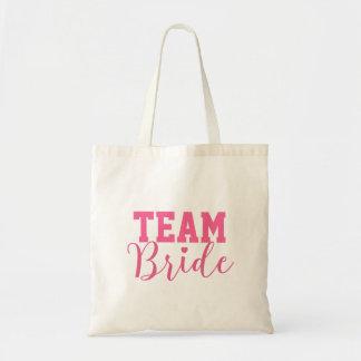 Team Bride Classy Pink Script Bridesmaid Tote Bag
