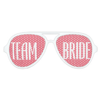 Team Bride Girly Pink and White Elegant Sunglasses