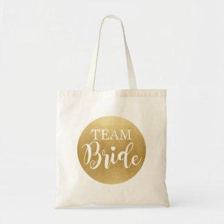 Team Bride Gold Bag Canvas Bridal Girls Gift