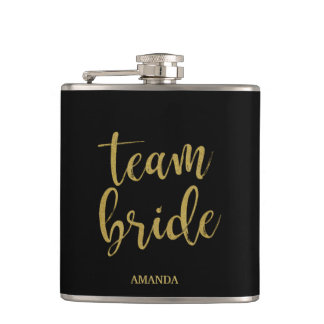Team Bride Gold Glitter Bridesmaid Bachelorette Hip Flask